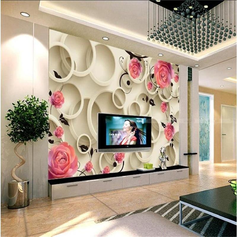3D photo wallpaper 3d Rose circle fantasy floral living room sofa ...