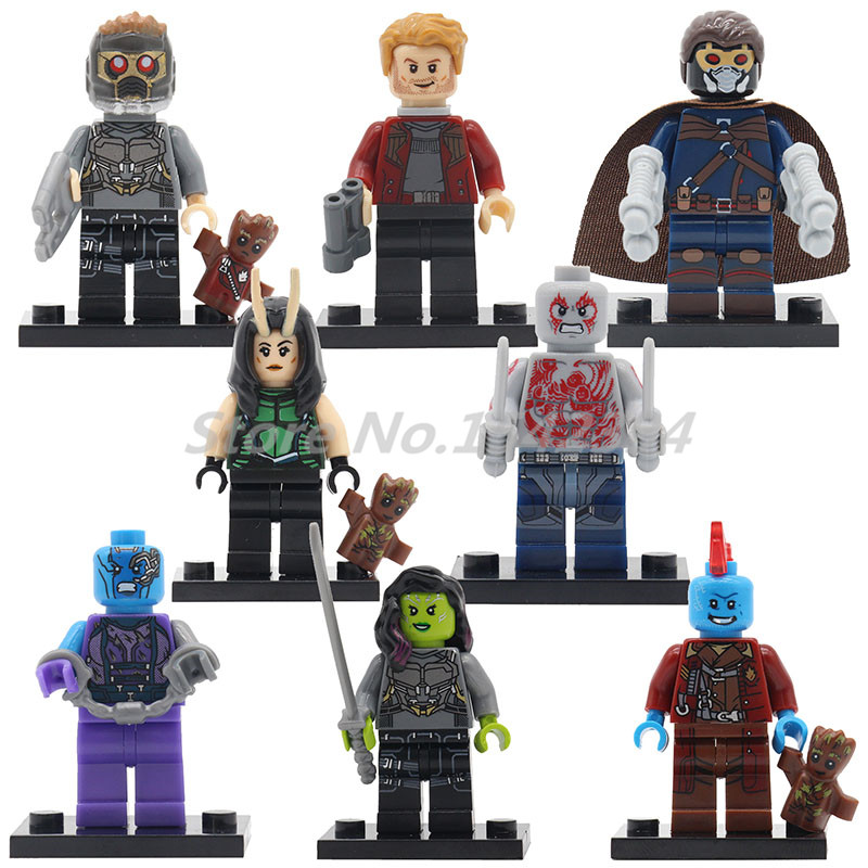Wholesale Building Block 20pcs/lot Guardians of the Galaxy Marvel Super Heroes Action Model Bricks Toys For Children Gifts freeshipping wall mount tooth brush holder oil rubbed bronze bath dual cups