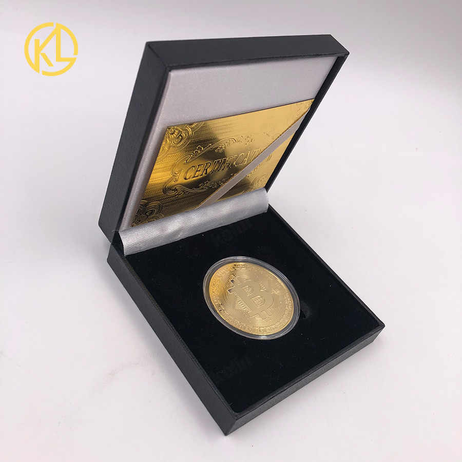 Горячая памятная Биткойн позолоченная фольга монета индивидуальные вызов Золотая монета с акриловым чехлом для коллекции