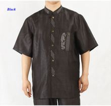 New arrival pure silk male short-sleeve embroidery shirt,100% gambiered Guangzhou silk standing collar pocket shirts