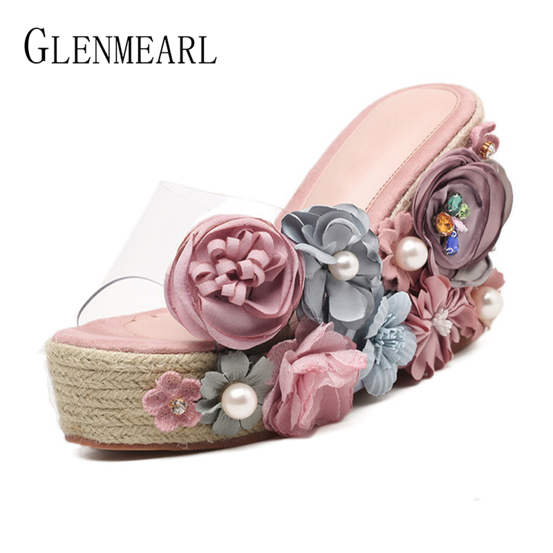 Summer Shoes Woman Platform Slippers Straw Flowers Flip Flops Wedges High Heels Women Shoes Brand Transparent Beach Sandals DE black red green pink summer sheepskin woman platform flip flops slippers thick high heels beach sandals for women open toe shoes