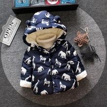 Зимняя верхняя одежда для маленьких девочек модное хлопковое плотное пальто с капюшоном и рисунком для маленьких девочек, теплые бархатные пальто для малышей