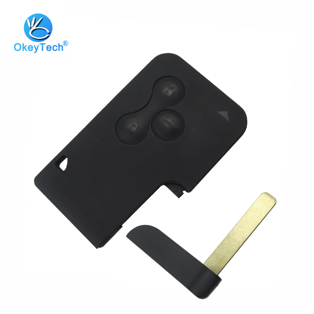 OkeyTech 3 Button Remote Key Fob Insert Small Blade Replacement Car Key Shell For Renault Clio Megane Grand Scenic Smart Card brand new high quality remote key renault megane smart card 3 button 2 small car key smart card for renault key shell megane