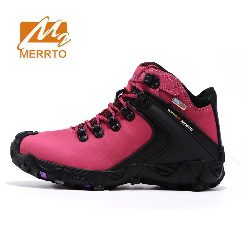 MERRTO Women's Leather Outdoor Hiking Trekking Boots Shoes Sneakers For Women Sports Climbing Mountain Boots Shoes Woman yin qi shi man winter outdoor shoes hiking camping trip high top hiking boots cow leather durable female plush warm outdoor boot