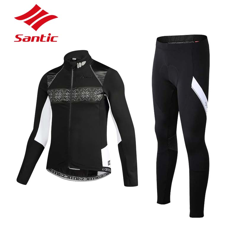 Santic Cycling Jacket Sets Men Winter Windproof Bike Jacket Cycling Clothing Fleece Thermal Bicycle Jersey Cycle clothes 2018 santic winter men cycling jersey with hooded fleece blue warm cycling clothing thermal mtb windproof cycling wear mc01054