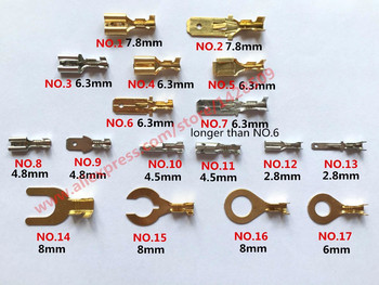 10 Pcs Copper 2.8mm 4.8mm 6.3mm Female Male Plug Terminal 8mm Auto Horn Connector Terminals Automotive Pins image