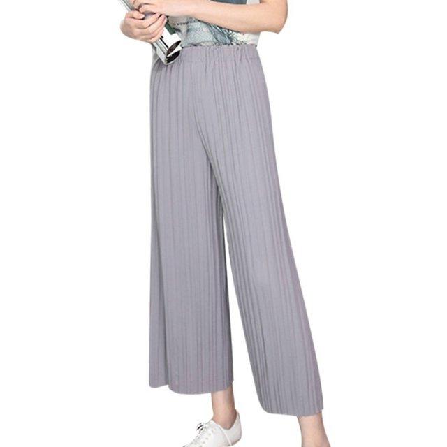 aca7fd9fef Summer Pant Elastic Waist High Waist Pleated Pants Nine Wide Leg Pants Big  Swing Culottes For Women