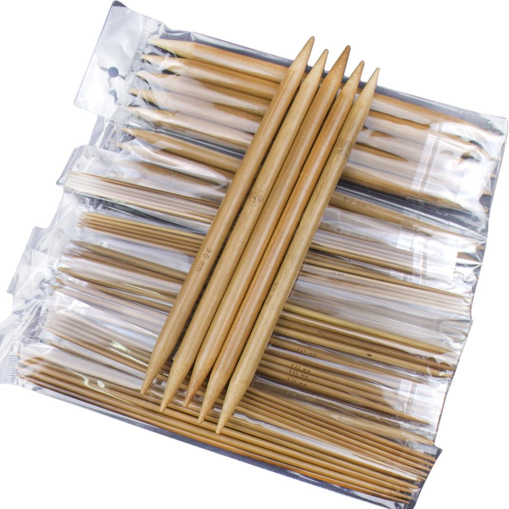 75pcs/set 15 Sizes 20cm Double Pointed Carbonized Bamboo Knitting Needles Sweater Knitting Bamboo Handle Smooth Craft Needle