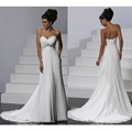 Vintage Beaded Sweetheart Chiffon Court Train White Ivory Beach Garden Wedding Dress Plus Size Bride Gown 2017 New CGT160