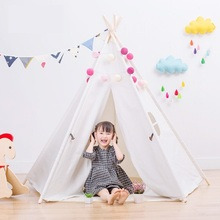 Five Poles Children White Indian Teepees Lace Cream Tent For Girls Kids Play Tent Cotton & Lace Tipi For 0-12 Baby Ins Hot