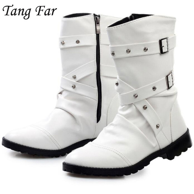36aebfc5a84 US $29.95 35% OFF|White Men Motorcycle Boots Rivets Vintage Combat Boot  Handmade Waterproof Buckle Military Boots Men Botas Hombre -in Motorcycle  ...