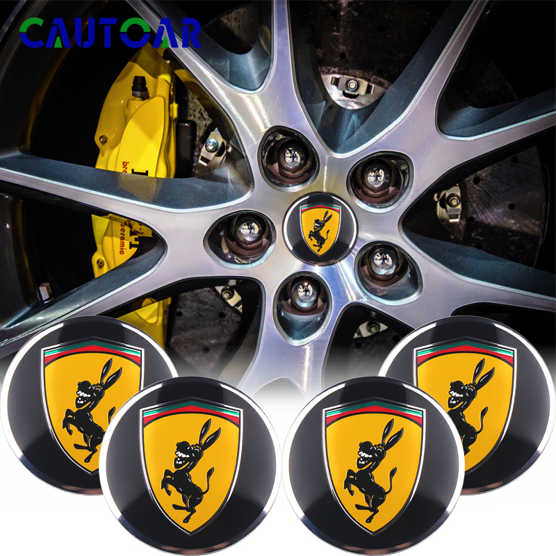 4PCS Car Aluminium Wheel Hub Center Caps Emblem Sticker For Ferrari Donkey Logo Emblem Badge 3D Metal Car Styling Decal