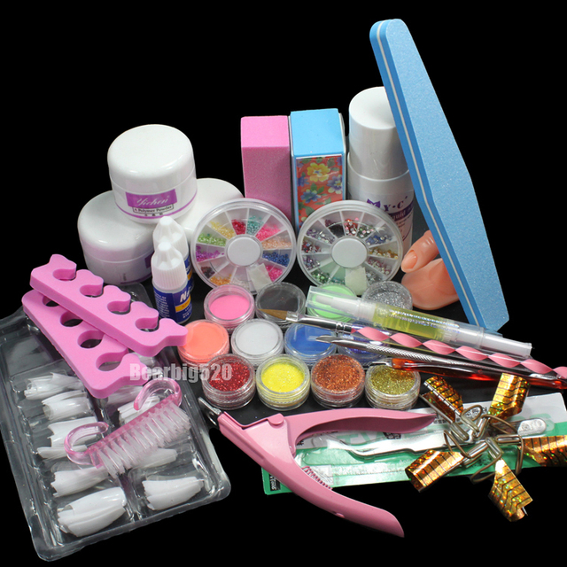 New 23pcs/set Acrylic Nail Art Set Acrylic Powder Liquid Nail Tools Makeup Set Excellent Manicure Makeup Tool kit