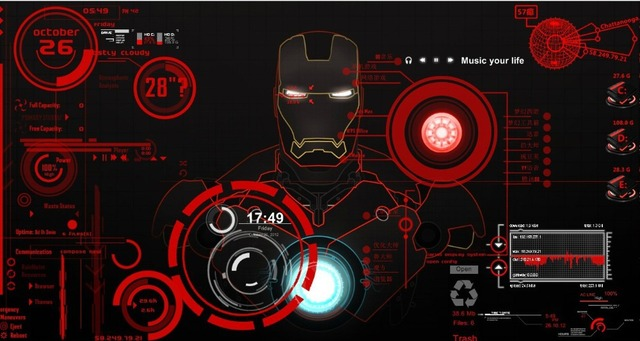 iron man the computer theme desktop of tony starks jarvis system rainmeter