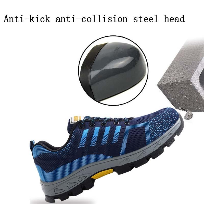 Anti Trabalho azul Homens Aço Segurança Anti Preto Bota Calçados Wearable perfuração Sapatos Biqueira Proteção De slip Lettbao Respirável Masculina IBzIw
