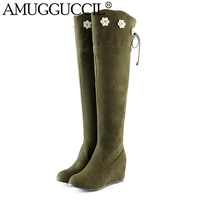 2014 New Arrival Big Size 34 43 Black Green Yellow Over The Knee Mid Heel Females
