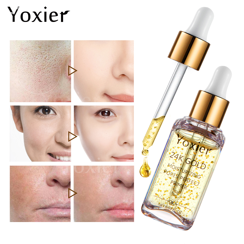 3PCS/LOT Yoxier Brand Makeup Base Moisturizing Essence 24k Gold Oil Control Professional Matte Serum Series Foundation Primer 2