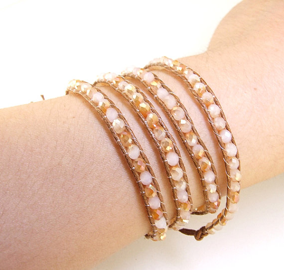 Champagne M Crystal Glass Faceted Wrap Bracelet Line Wrap Woven Button Handmade Jewelry Wrap Bracelet Necklace Waist