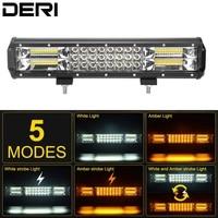 15 inch 216W Triple Row Amber White Strobe Flash Led Light Bar for Offroad SUV ATV UTV UAZ Working Fog Light 12V 24V Car Styling