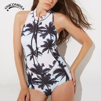 Unicomidea Cerniera di Un Pezzo del Costume Da Bagno Coconut Tree Stampa Donne Vestito di Nuoto Sexy Da Bagno Surf Swimwear Senza Maniche Vestito di Nuotata