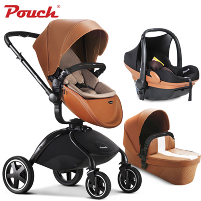 Brand baby strollers 3 in 1 EU sleeping folding light baby car leather baby carriage Pouch brand