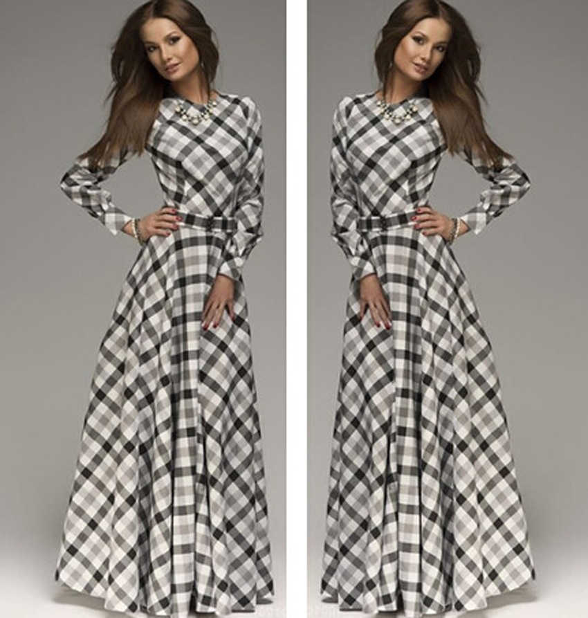 8a89eb507df ... New Arrival winter women maxi dresses casual full sleeve o-neck print  plaid elegant party
