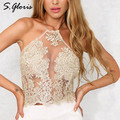 S.gloris Chic Floral Lace Insert Halter Bralet Sexy Lace Crop Top Bodycon Top Gauze Metallic Summer Beach Backless Short Top