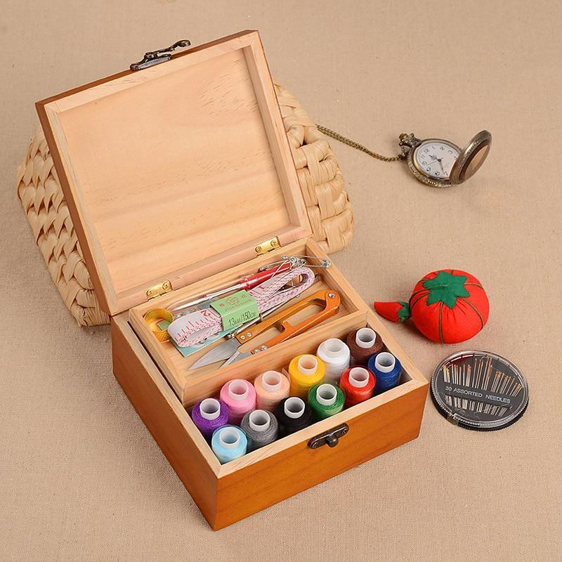 Large New Wooden Storage Box Diy Crates Toy Boxes Set: Handmade DIY Sewing Kit Storage Box Multi Function