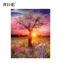 RIHE Woman Tree Diy Painting By Numbers Dusk Flower Oil Cuadros Decoracion Acrylic Paint On Canvas Modern Wall Art 2018