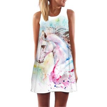 Women Print Dress 2020 New Arrival Floral Flamingo Sleeveless Summer Dress O Neck Casual Loose Mini Chiffon Dresses Vestidos 3