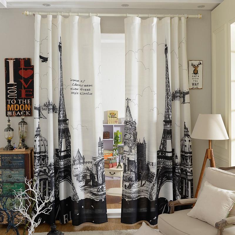 Noir et blanc tour eiffel rideau pour le salon et chambre coton et lin rideau de style moderne - Rideau de salon ...