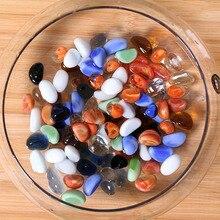 Multicolored glass pebble colored pebble-fleshed plant pavement stone decorative fish tank