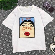 NiceMix 2019 Harajuku I am Cool Funny Letter Print White T shirt Women Korean Female T-shirt Fashion Spoof Black Top Tee S-XL