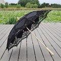2016 Moda Nupcial do Casamento Handmade Bordado Preto de Algodão Borda Do Laço Sol Guarda-chuva Guarda-chuva de Noiva Decoração Do Partido Barato