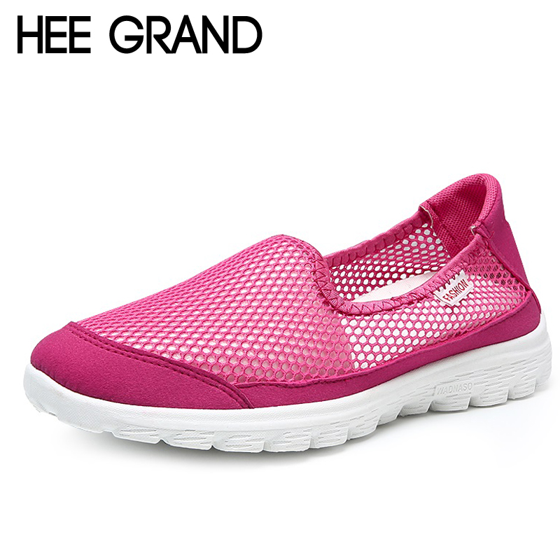 HEE GRAND Casual Woman Shoes 2018 Mesh Summer Style Solid Woman Flats Loafers Breathable Slip-on Shoes Size 35-40 XWC1298 hee grand summer gladiator sandals 2017 new platform flip flops flowers flats casual slip on shoes flat woman size 35 41 xwz3651