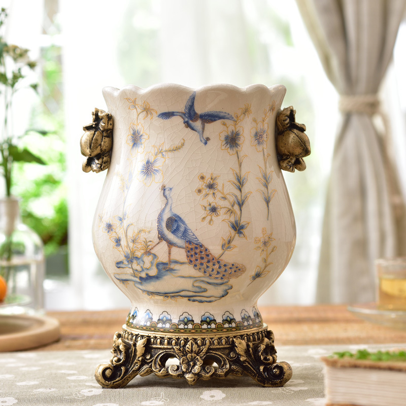 Céramique fleur Européenne en céramique vase décoration de la maison ornement shabby chic fleur pot