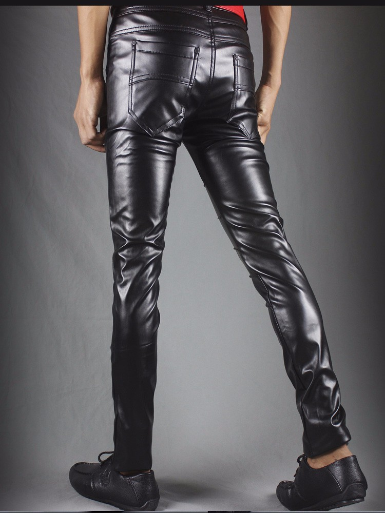 Winter new leather pants men Slim flesh tight pants motorcycle night club hair stylist feet leather pants tide 35