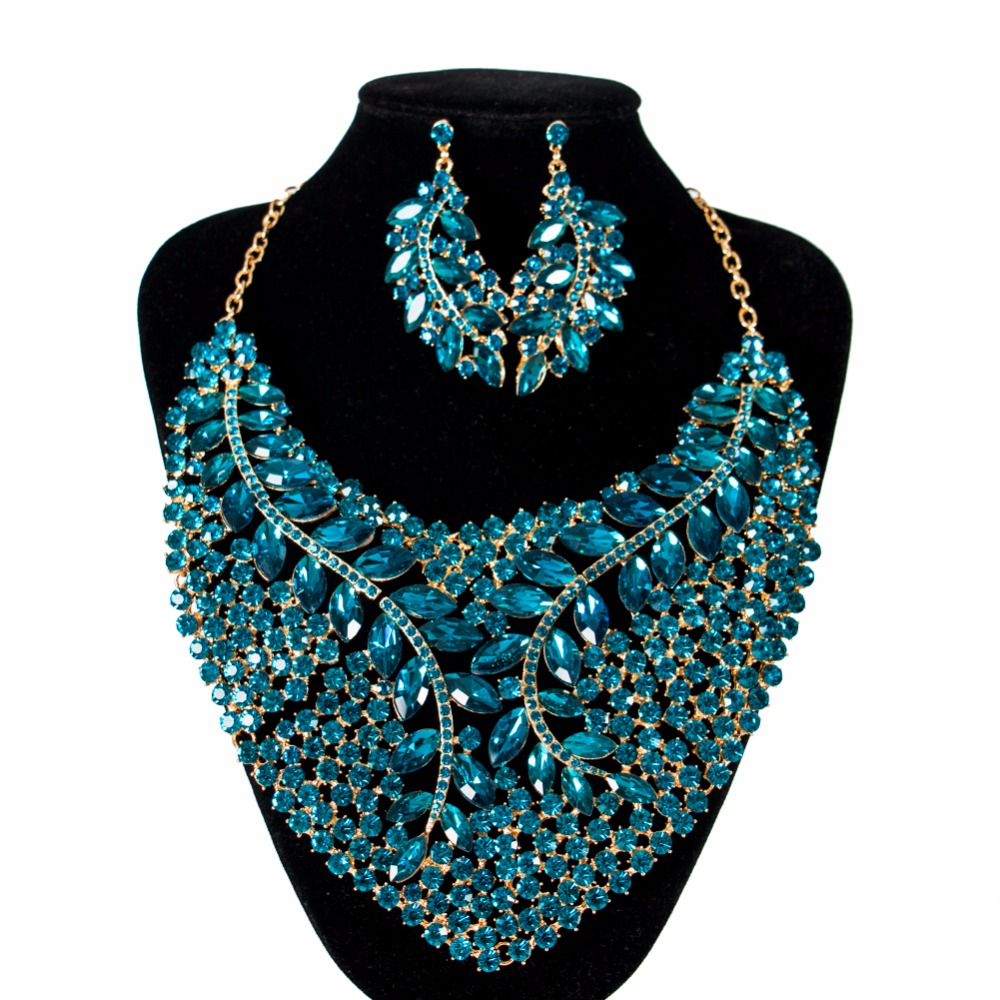 Lan palace luxe feuilles verre perles africaines nuptiales grand ensemble de bijoux couleur or collier et boucles d'oreilles pour wo'men livraison gratuite