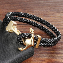 High Quality Stainless Steel Genuine Leather Bracelets & Bangles Fashion Vintage Anchor Bracelet For Men Women Sport Hook Male(China)