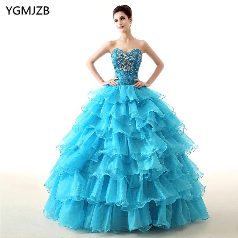Robes De Quinceanera bleu rouge robe De bal chérie volants robes à plusieurs niveaux De 15 Anos robe douce 16 robes De Debutante