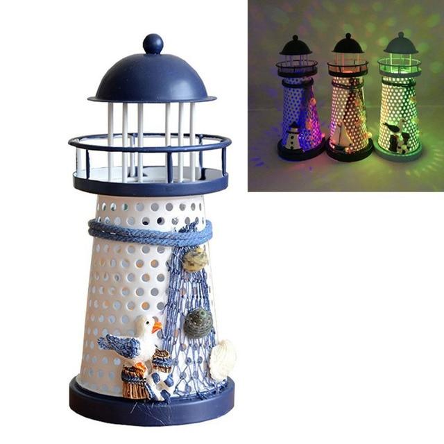 Portable Ornament Nautical Ocean Lighthouse Lantern Lamp Color ...