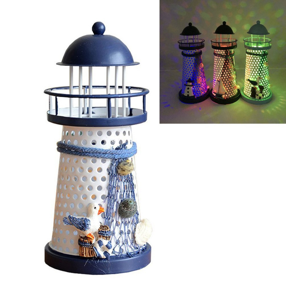Cottage lighthouse lamp 3 colors - Portable Ornament Nautical Ocean Lighthouse Lantern Lamp Color Changing Led Creative Home Decor Mediterranean Style