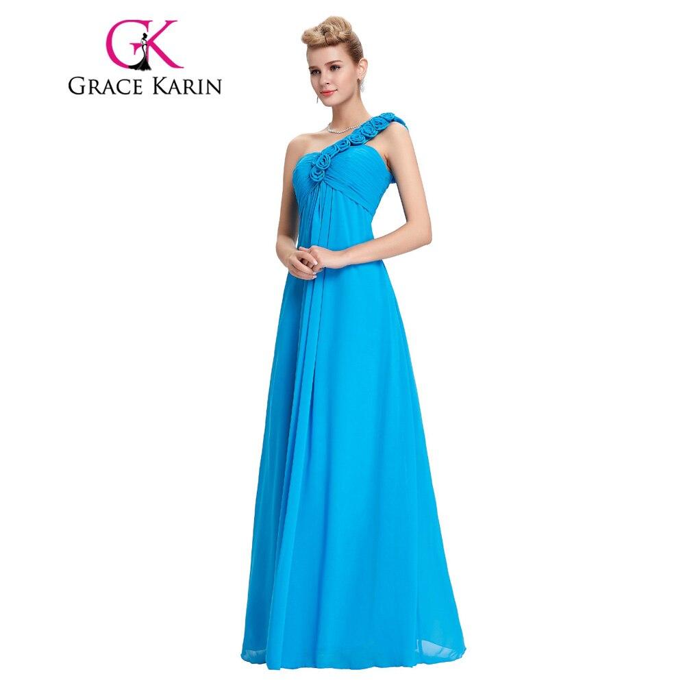 2017 Grace Karin Long Prom Dress Flower One Shoulder Elegant Evening ...