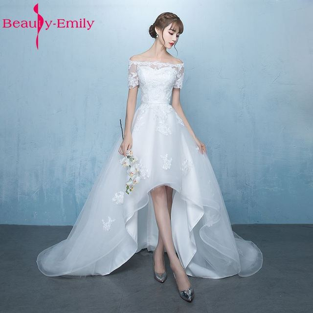 Beauty Emily White Asymmetrical Wedding Dresses 2018 Court Train ...
