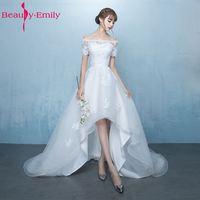 Beauty Emily White Asymmetrical Wedding Dresses 2018 Court Train Short Sleeve Boat Neck Lace Up Plus Size Bridal Dresses