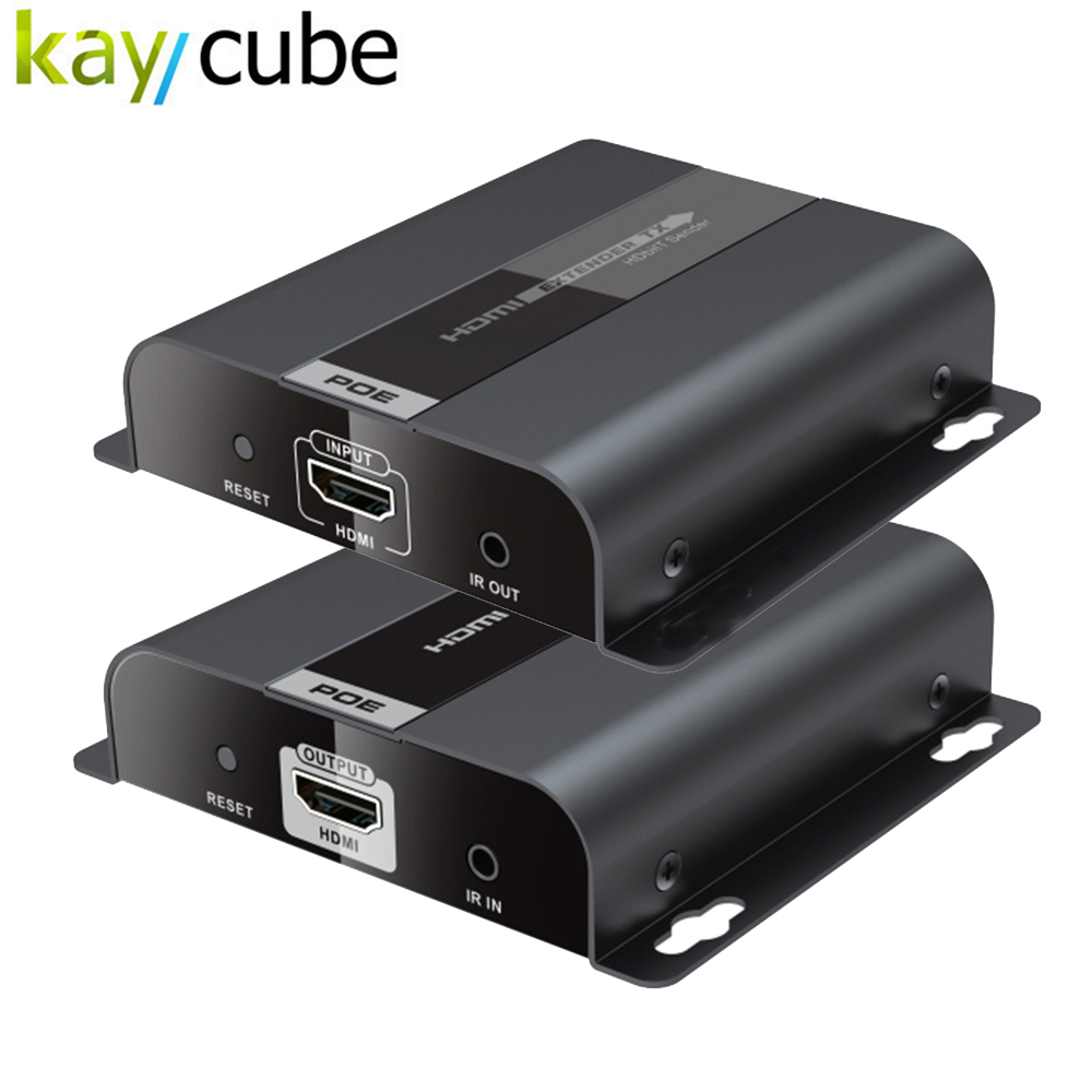 Kaycube New 383POE HDbitT HDMI over IP CAT6 Extender with POE up to 1080P@60Hz HDCP IR pass-back POE HDMI Extender 80 channels hdmi to dvb t modulator hdmi extender over coaxial