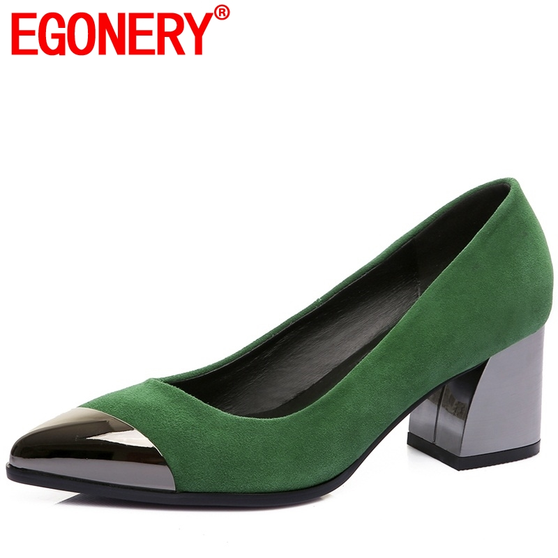 EGONERY office women pumps genuine leather 5cm med heels career 2019 summer pointed toe black green