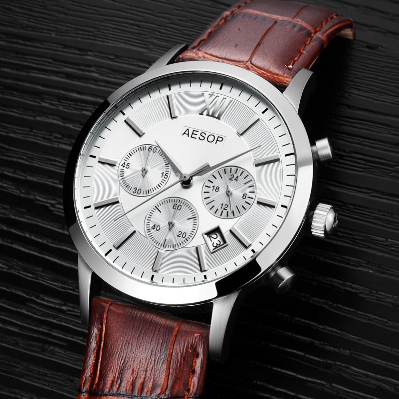 AESOP Relogio Masculino Business Luxury Sport Watch Men Sapphire Crystal Quartz Watch Auto Date Mens Watches Male Clock Hodinky