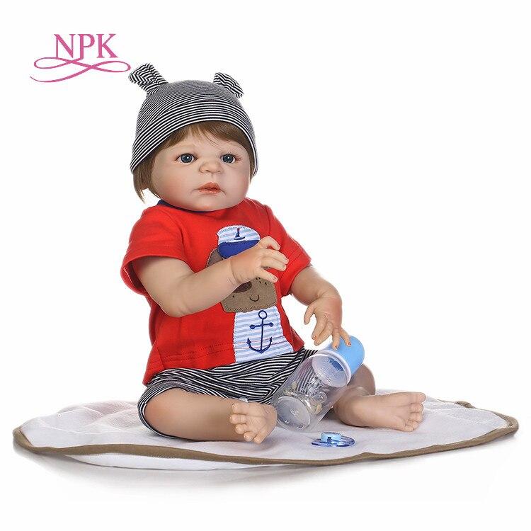 NPK Reborn baby junge puppen 22 zoll full silikon körper reborn babys echt sleeping newborn babys spielzeug für kinder geschenk bonecas