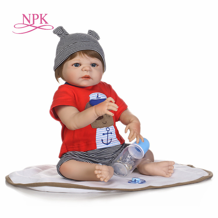 NPK Reborn baby boy dolls 22inch full silicone body reborn babies real sleeping newborn babies toys for children gift bonecas real full body silicone reborn baby dolls toys 22 newborn girl wig blond hair magnetic pacifier children gift bonecas